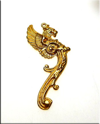 Gold Plated Gryphon Pendant, Large Griffin Seraph