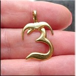 Gold Plated Om Pendant, Bailed Om Symbol