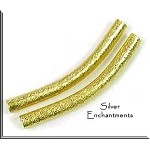Brushed Gold Plated Large Hole Tube Noodle Bead