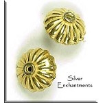 Gold Plated Scallop Rondelle Bead, 10x14mm