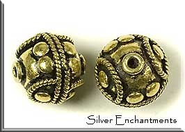 Antique Gold Plated Fancy Ball Bead, 16mm