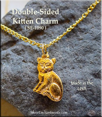 Gold Plated Kitten Charm, Double-sided