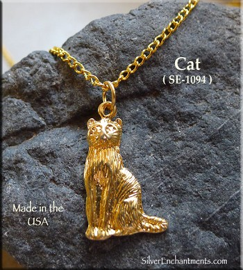Gold Plated Cat Pendant