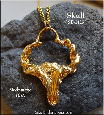 Gold Plated Skull Pendant with Twisted Horns, Large