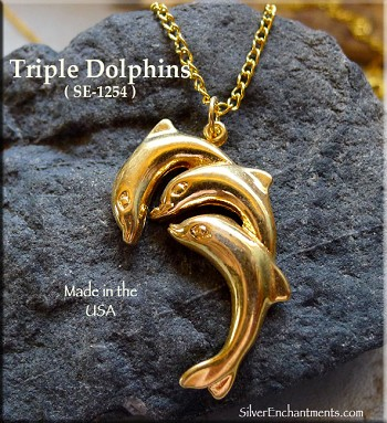 Gold Plated Jumping Dolphins Pendant, Triple