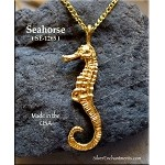 Gold Plated Seahorse Pendant, Bailed Double-Sided