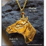 Gold Plated Horse Pendant, Stallion Bust