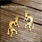 Gold Plated Kokopelli Pendant, Double-sided