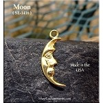 Gold Plated Moon Charm, Crescent Moon
