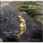 Gold Plated Moon Jewelry Connector, Crescent Moon with Loop