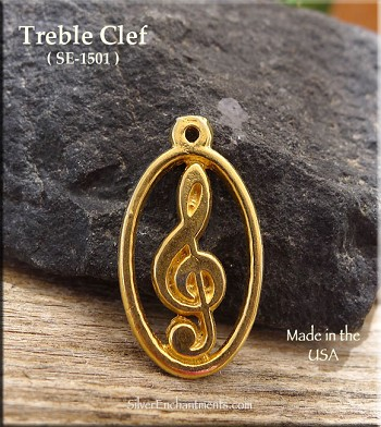 Gold Plated Treble Clef Pendant