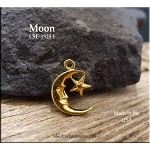 Gold Plated Moon Charm with Star, Crescent Moon
