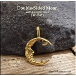 Gold Plated Moon with Dangle Area, Bailed Double-Sided
