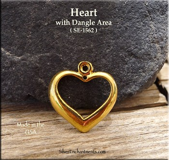 Gold Plated Heart with Dangle Area