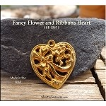 Gold Plated Heart Pendant with Ribbon and Flowers