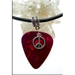 SOLDOUT - Peace Sign Guitar Pick Pendant Necklace, Red