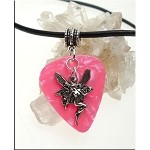 SOLDOUT - Fairy Guitar Pick Pendant Necklace, Pink