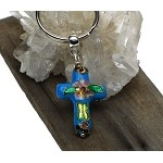 Cross Key Ring, Turquoise Enameled Cloisonne Cross Keychain, Christian Key Ring
