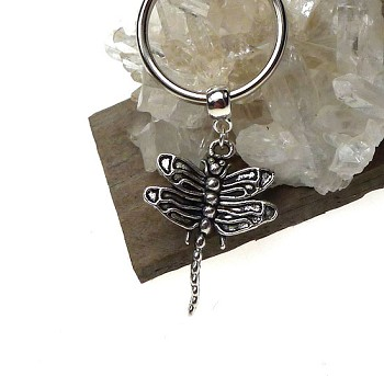 Silver Dragonfly Key Ring