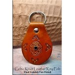 SOLD - Leather Key Fob - CELTIC LOVE KNOT with Crystal Rivet