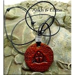 SOLD - Leather Ankh and Lotus Necklace - Egyptian Jewelry