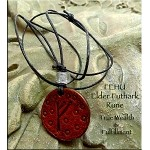 Leather FEHU Elder Futhark Rune Necklace - Wealth and Fulfillment