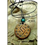 SOLD - Leather JERA Elder Futhark Rune Necklace - Long Term Success