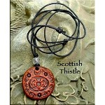 Leather Scottish Thistle Necklace - Protection, Valor, Nobility