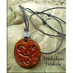 Leather Triskelion, Triskele Necklace