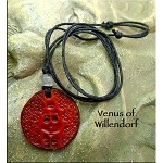 Leather Venus of Willendorf Necklace - Abundance, Fertility - Pagan Jewelry