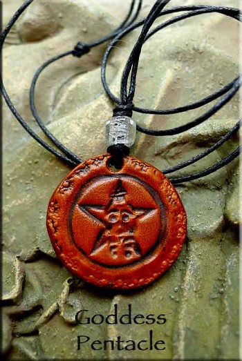 Leather Goddess Pentacle Necklace, Pagan Jewelry
