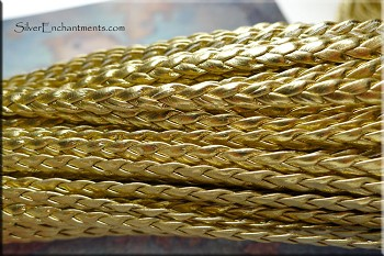 Flat Leather Cord, METALLIC GOLD 5mm Braided