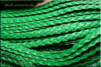 5mm Flat Braided Leather Cord by the Yard, KELLY GREEN