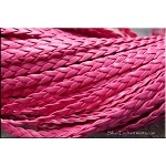 5mm Flat Braided Leatherette Cord by the Yard, BRIGHT PINK