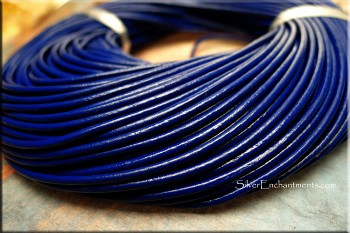 Navy Blue Cowhide Leather Cord
