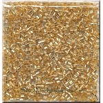 1.5mm Miyuki Hex Bugle Beads, Silver Lined Gold, Tube Beads, Square Hole