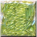 Silver Lined Lime Green 12mm Miyuki Twisted Bugle Beads