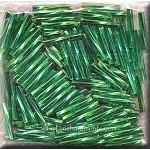 12mm Miyuki Twisted Bugle Beads, Silver Lined Kelly Green