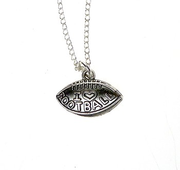 Football Necklace, I Love Football Sports Necklace