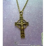 Bronze Orthodox Cross Necklace, Double-Sided Crucifix Necklace
