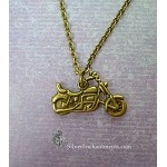 Bronze Motorcycle Necklace, Motorcycle Jewelry