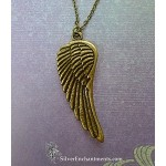 Large Angel Wing Necklace Bronze