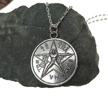 Tetragrammaton with Vitruvian Man Pendant Necklace, Esoteric Pentagram