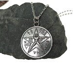 Tetragrammaton Necklace, Tetragrammaton with Vitruvian Man, Esoteric Pentagram Necklace