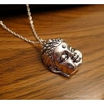Silver Buddha Necklace, Dimensional Zen Buddah, Everyday Buddhism Jewelry