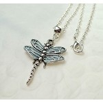 Silver Dragonfly Necklace, Light Aqua
