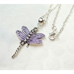 Silver Dragonfly Necklace, Lavender