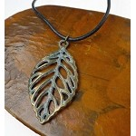 Leaf Necklace, Brass Tree Leaf with Verdigris Patina, Forest Jewelry, Nature Lover