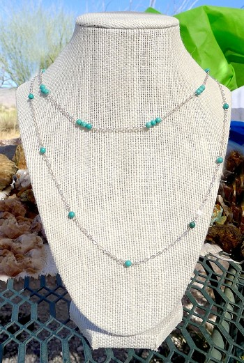 Layered Turquoise Necklace in Silver or Gold