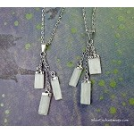 Selenite Pendant Necklace, Triple Raw Selenite